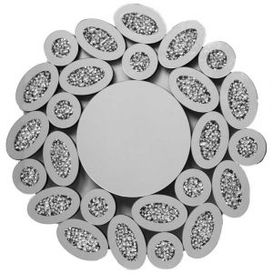 Crushed Crystal 80 X 80Cm Ovals Wall Mirror (Milano)