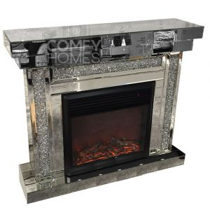 Mirrored Crushed Crystal Fireplace (Milano)