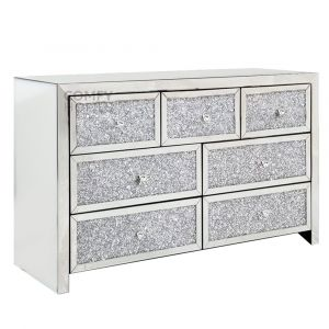 Crushed Crystal Front 7 Drawer Chest (Milano)