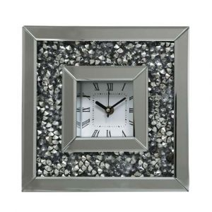 Mirrored Crushed Crystal Table Clock (Milano)