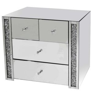 Mirrored Crushed Crystal 2+2 Drawer Chest (Milano)