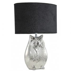 Silver Oval Owl Table Lamp With Black Shade