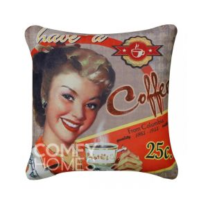 Red Have A Coffee Vintage Poster Cushion