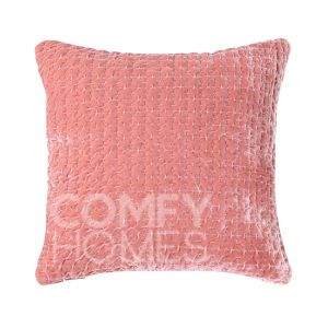 Rose Pink Velvet Quilted Cushion