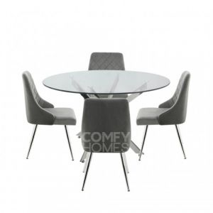 Neve 130cm Round Dining Table And 4 Tierra Chairs