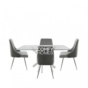 Neve 160cm Rectangular Dining Table And 4 Tierra Chairs