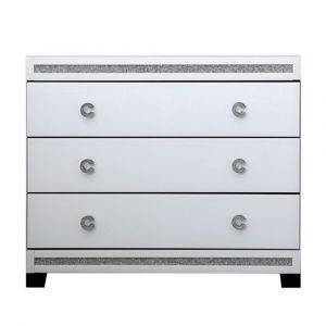 Cleo White Mirror 3 Drawer Bedside Chest (Isabel)