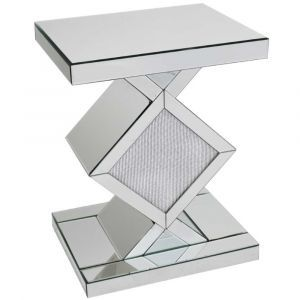 Mirrored Glitter End Table