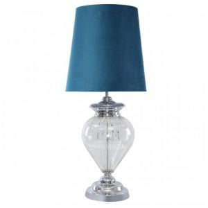 Chrome Glass Regal Lamp With Marine Green Shade