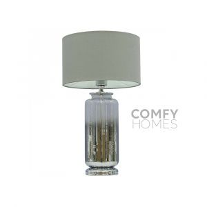 Silver Ombre Glass Table Lamp With Grey Shade