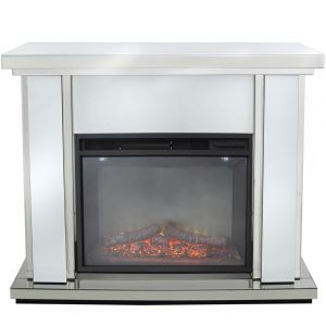 White Glass Fireplace (Marco)