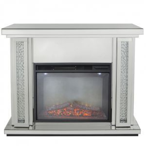 Floating Crystal Mirrored Fireplace