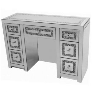 Mirrored Crushed Crystal 7 Drawer Dressing Table (Milano)