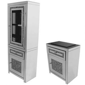 Mirrored Crushed Crystal 2 Part Display Unit  (Milano)