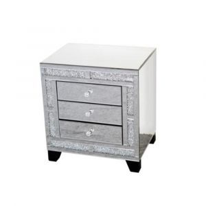 Mirrored Crushed Crystal Small 3 Drawer Chest (Sofia)