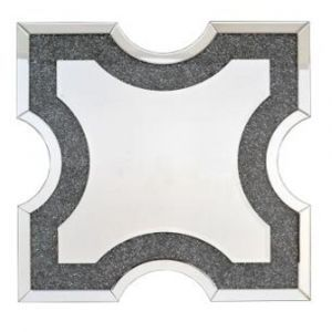 Crushed Crystal Square Crest Wall Mirror (Sofia)
