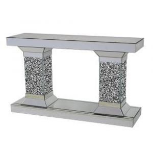 Mirrored Crushed Crystal Mirrored Tower Console Table (Sofia) Alternative