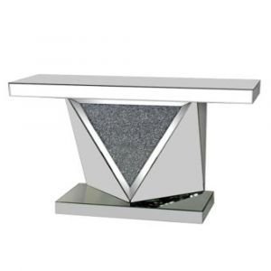 Mirrored Crushed Crystal Triangle Console Table (Sofia)