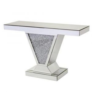 Mirrored Crushed Crystal V Shape Console Table (Sofia)