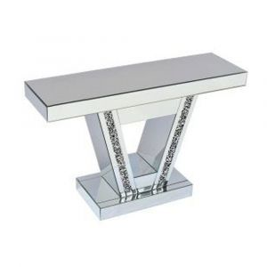 Mirrored Crushed Crystal V Shape Mirrored Console Table (Sofia)