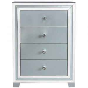 Grey Mirrored Marco 4 Drawer Chest