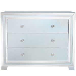 Grey Mirrored Marco 3 Drawer Chest