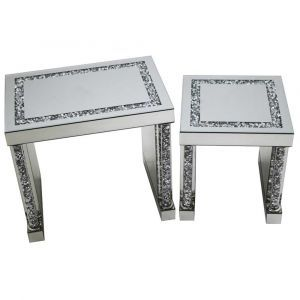 Mirrored Crushed Crystal Tube Nest Of Tables (Milano)