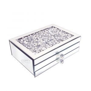 Mirrored Crushed Crystal Wide 2 Drawer Jewellery Box (Milano)
