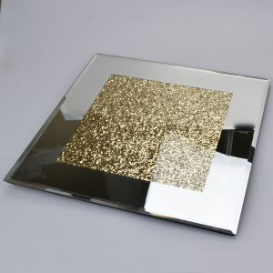 Mirrored Large Coaster With Gold Crystals Alternative