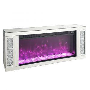 Crushed Crystal Wall Mount Real Heat Fireplace (Milano)