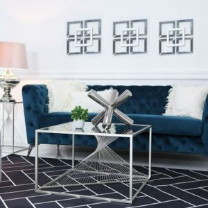 Lela Silver Metal and Glass Coffee Table Alternative