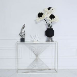 Lela Silver Metal and Glass Console Table Alternative