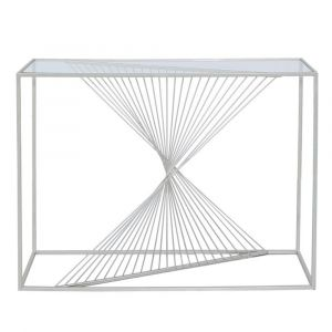 Lela Silver Metal and Glass Console Table
