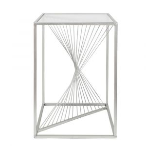 Lela Silver Metal and Glass End Table