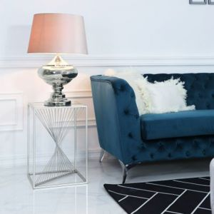 Lela Silver Metal and Glass End Table Alternative