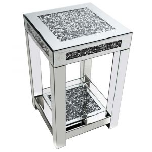 Mirrored Crushed Crystal 2 Tier Pedestal (Milano)