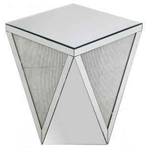 Mirrored Glitter Side Table