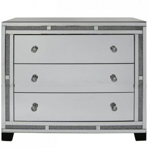 Mirrored Crushed Crystal 3 Drawer Chest (Isabel)