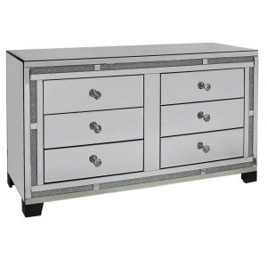 Mirrored Crushed Crystal 6 Drawer Chest (Isabel)
