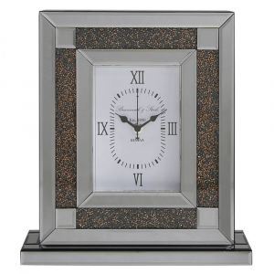 Mirrored Crushed Crystal Table Clock (Isabel) Alternative