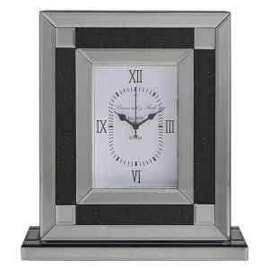 Mirrored Crushed Crystal Table Clock (Isabel)
