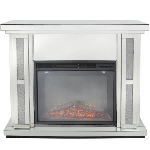 Mirrored Crushed Crystal Fireplace Set (Isabel)