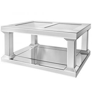 Mirrored Crushed Crystal Pillar Coffee Table (Isabel)