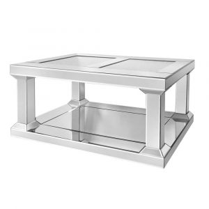 Mirrored Crushed Crystal Pillar Coffee Table (Isabel) Alternative