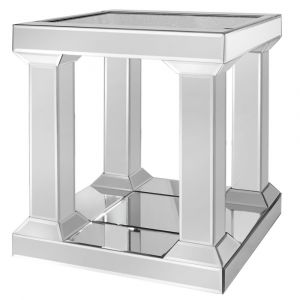 Mirrored Crushed Crystal Pillar End Table (Isabel)