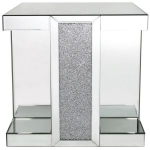 Mirrored Crushed Crystal Square End Table (Isabel) Alternative