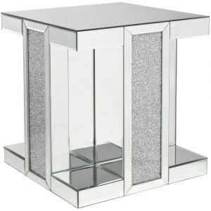 Mirrored Crushed Crystal Square End Table (Isabel)