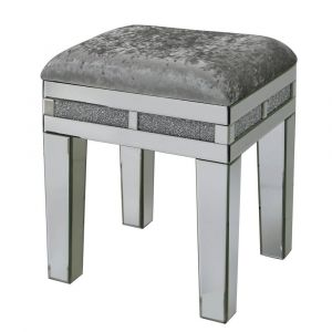 Mirrored Crushed Crystal Stool (Isabel)