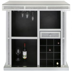 Mirrored Crushed Crystal Wine Bar (Isabel)