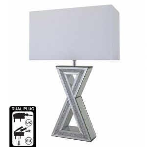 """Mirrored Crushed Crystal X"""" Table Lamp (Isabel)"""""""